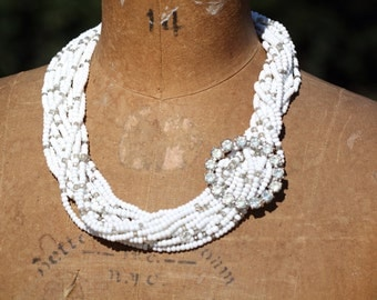 Bold Chunky Statement Vintage Rhinestone Necklace OOAK Glass Multiple Strands Layered Sassy Sisters Jewelry