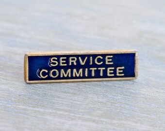 Service Committee Badge - Antique Blue Enamel and Brass Brooch - for Important and Formal Occasions
