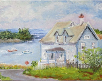 Downeast Cottage on the Bay in Lubec, Maine  an 11 by 14 inch oil painting