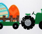 Easter Egg Tractor 2 Applique Design Machine Embroidery INSTANT DOWNLOAD