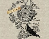 Antique French Pocket Watch Bird Instant Download Digital Image No.35 Iron-On Transfer to Fabric (burlap, linen) Paper Prints (cards, tags)