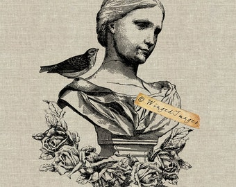 Antique Statue of Woman with Bird Instant Download Digital Image No.39 Iron-On Transfer to Fabric (burlap, linen) Paper Prints (cards, tags)