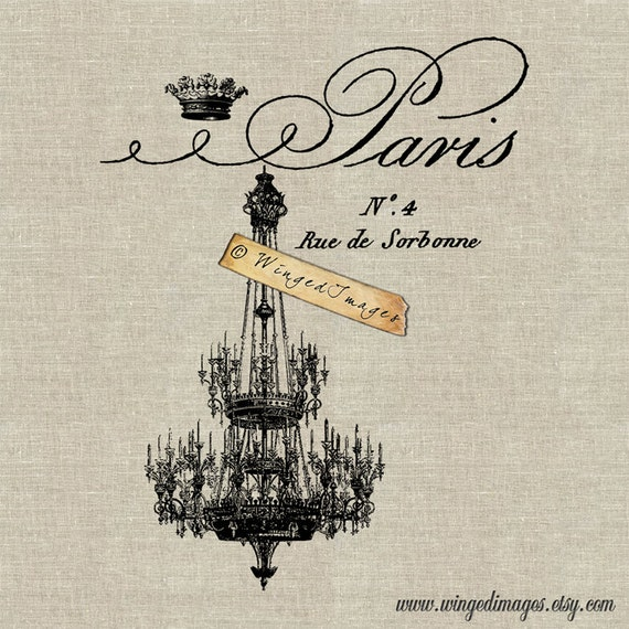 Paris French Chandelier Instant Download Digital Image No.85 Iron-On Transfer to Fabric (burlap, linen) Paper Prints (cards, tags)