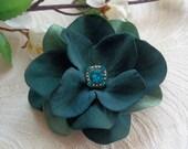 Deep Teal Hydrangea Flower Hair Clip -Womens Hair Accessory