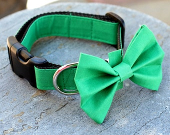 "Ready to Ship - 1"" Dog Collar - no bow tie - 3 sizes - Green"