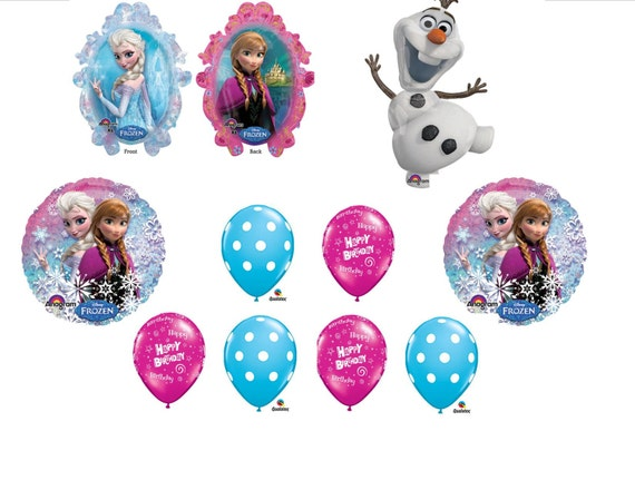 10pc Disney Frozen Anna Elsa Olaf Balloon Set Cluster Bouquet Happy Birthday Party Decorations Centerpiece Favors