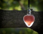 Perfume Bottle Necklace - Heart Perfume Pendant - Forbidden Fruit - Luscious Pomegranate, Mulled Fruits, Woody Aged Oak