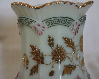 1900s Vintage Northwood Custard Glass with Chrysanthemum Pattern Sugar Dish