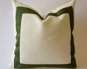 20x20 TO 26x26 White Cotton Canvas Decorative Throw Pillow Cover with Olive Green Grosgrain Ribbon Border - Cushion Covers