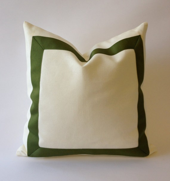 Decorative Pillow Cover White Cotton Canvas with Olive Green Grosgrain Ribbon Border -20x20 TO 26x26  Cushion Covers