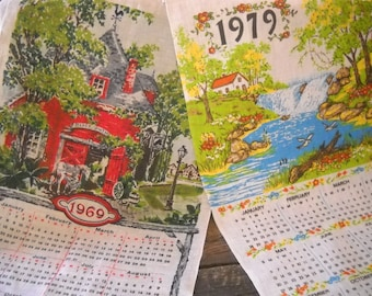 1970's Calendar Linen Dish Towels Set of 2 -Blacksmith/Horse and Waterfall Theme