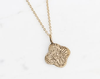 Saint Jude brass medallion necklace