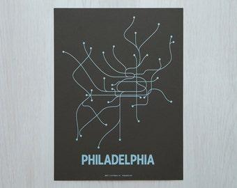 Philadelphia Sm Screen Print - Brown/Light Blue