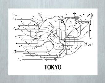 Tokyo Lithograph - White/Black