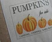 SALE, Pumpkins, Pillows, Farmer's Market, Autumn, Halloween, Fall Pillows, Autumn Decor, Orange, Burlap, Ticking, Black and White, Rustic