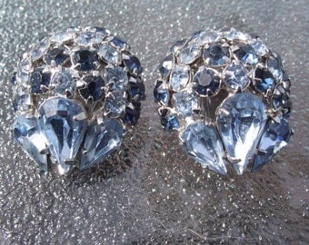 """KRAMER stamped earrings, clip on, lovely mixed blue stones, 1"""" inch in diameter. Beautiful sparkle.KAM14.4-14.6-29.1."""