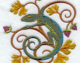 Art Nouveau Lizard Embroidered Flour Sack Hand/Dish Towel