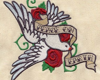 Peace on Earth Dove Tattoo Style Embroidered Flour Sack Hand/Dish Towel