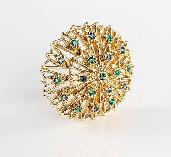 Vintage Napier rhinestone Brooch pin Starburst domed, blue green