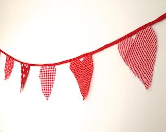 Valentine Banner  Heart Bunting Valentine Garland-Romantic Red