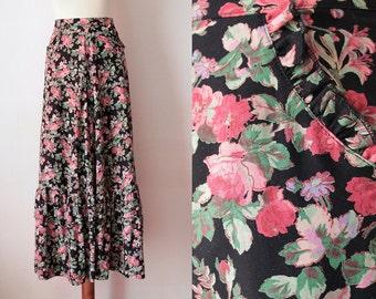 Vintage Maxi Skirt - Boho Hippie Skirt with Rose Print - SIze XS