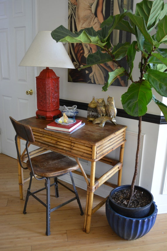 Bamboo Desk Bohemian Chic fice Space Rattan Desk Wooden