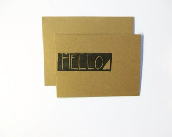 Hello Kraft Card, Blank Greeting Card, Any Occasion Stationery, Natural Brown with Stamp, Handstamped Hello, Card and Envelope