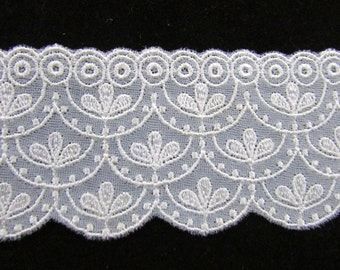Vintage Sheer Ivory Nylon Embroidered Lace, Vintage Wedding Lace, Vintage  Sewing Supplies,  Vintage Craft Supplies