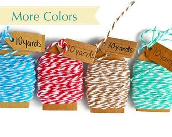 READY TO SHIP   Colored Bakers twine  40 yards of 4 ply cotton floss Red, turquoise, mint, cappuccino