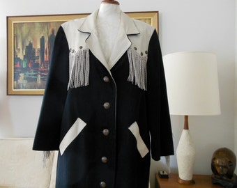 Sale Woman's Duster Western Style Black Denim with Sterling Silver Buttons-OOAK Long Coat Leather Fringe Jacket