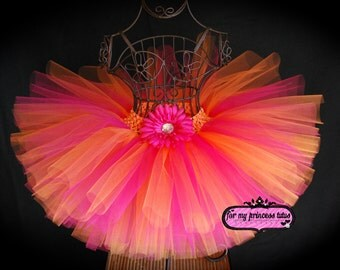 Hot Pink & Orange Tutu - newborn tutu, infant tutu, baby tutu, toddler tutu, dance tutu, 1st birthday tutu, birthday tutu, flower girl tutu