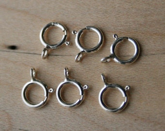 Qty 25 - Sterling Silver spring ring clasps, 6mm Wholesale Bulk, Delicate clasp