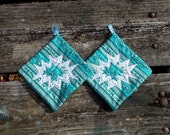 Green Christmas Snowflake Pot Holder Set of 2