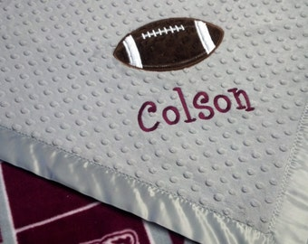 Personalized Texas A&M Fleece and Minky Baby Blanket with football applique