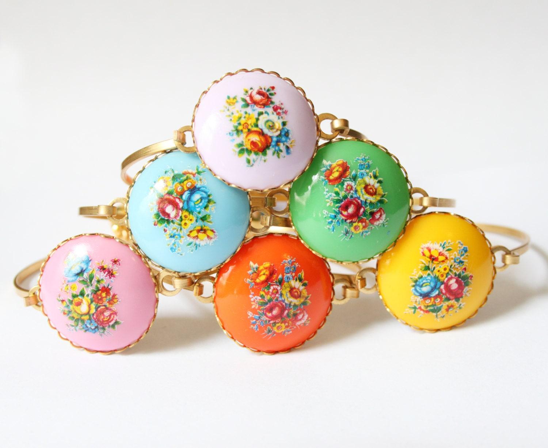Technicolor Bouquet Tassel Bracelet, Stacked Bangles, Tassel Bangle, Flower Cabochon Bangle, Bezel Bangle