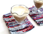 Nautical Snack Mats Mini Americana Red Gray Blue Navy Modern Cottage Chic Knitted Upcycled TShirts (set of 2) --US Shipping Included