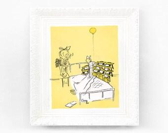 8x9 Vintage Madeline Print. Original French Book Plate Illustration. Hospital Balloon France Paris Ludwig Bemelmans mb1