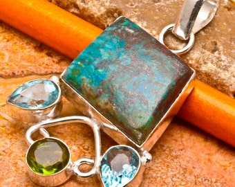 Natural Chrysocolla silver plated pendant (J176)