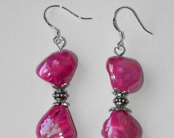 Shiny Pink  Shell  earrings (#460)