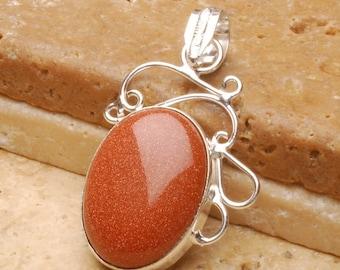 Goldstone silver plated  pendant (#J438)