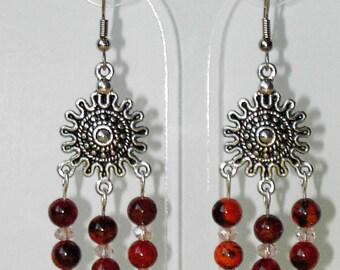 Orange/brown Chrysocolla silver plated earrings (#486)