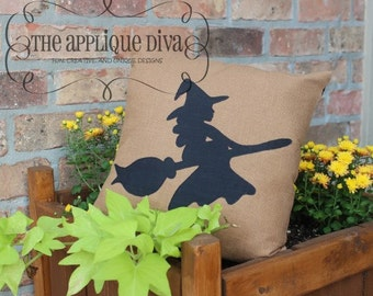 Halloween Raw Edge Flying Witch  Digital Embroidery Design Machine Applique