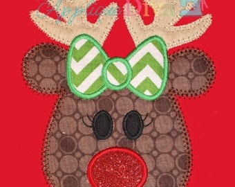 Christmas Ruby The Reindeer  Digital Embroidery Design Machine Applique