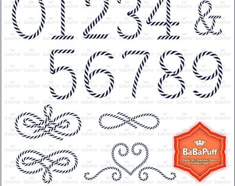 Nautical Rope Numbers Clip Art. Personal and Small Commercial Use. BP 0902
