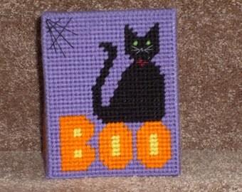 Halloween Cat Plastic Canvas Tissue Box Cover