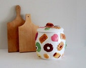 Los Angles Pottery - Napco Cookie Jar - Cookie Jar Decorated with Cookies and Original Lid with Cookies and Walnut Top
