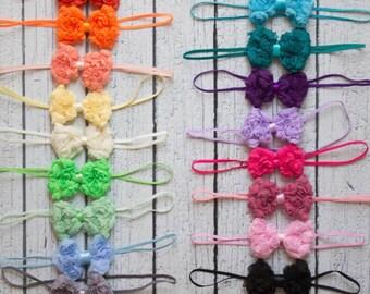 Mini Shabby rose Bow headband