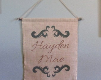 Personalized burlap banner - rustic nursery/here comes the bride banner/wedding decor/family name est date/rustic wall decor/ wall hanging