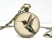 Hummingbird Necklace : Gold Hummingbird Necklace. Hummingbird Jewelry. Handmade Jewelry. Lizabettas