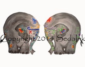 Two Elephants Watercolor 8 x 10